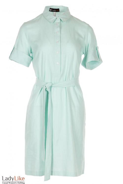 Платье из льна мятного цвета Деловая Женская Одежда фото