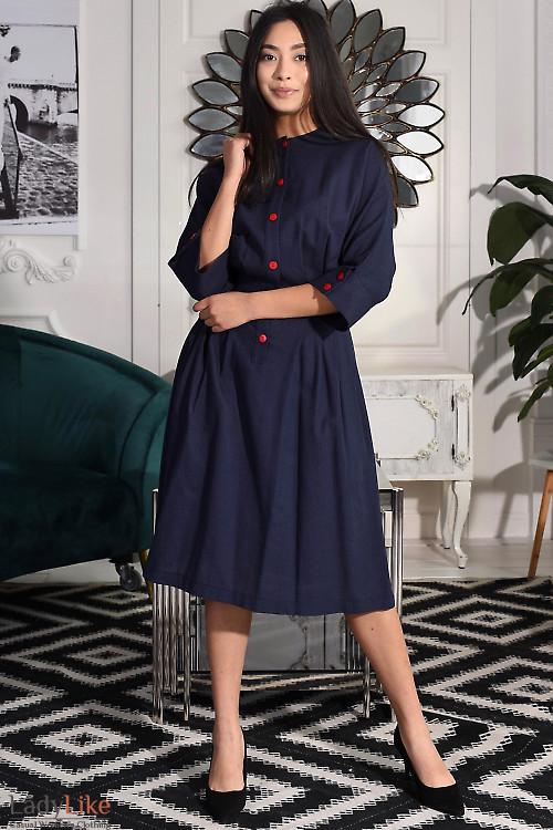 Платье из синего льна. Деловая женская одежда