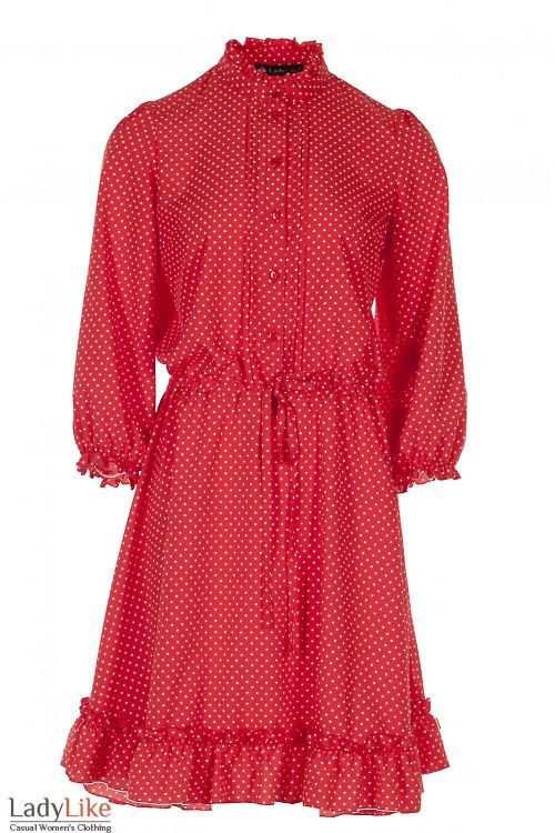 Платье красное в горошек на кулисе Деловая Женская Одежда фото
