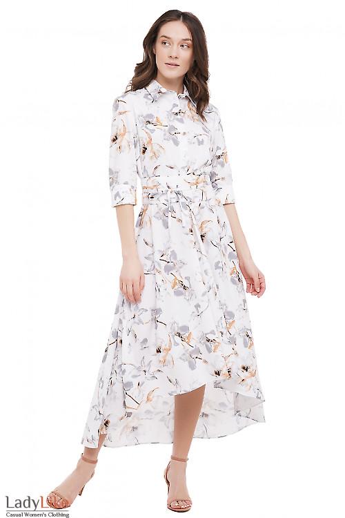 Платье молочное в лилии Деловая Женская Одежда фото