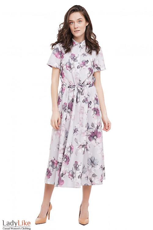Платье на кулисе серое в цветы Деловая Женская Одежда фото