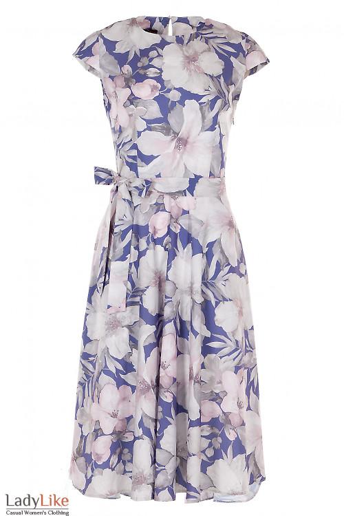 Платье пышное синее в цветы Деловая Женская Одежда фото