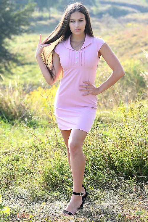 Купить розовое короткое платье с рукавчиком. Деловая женская одежда фото