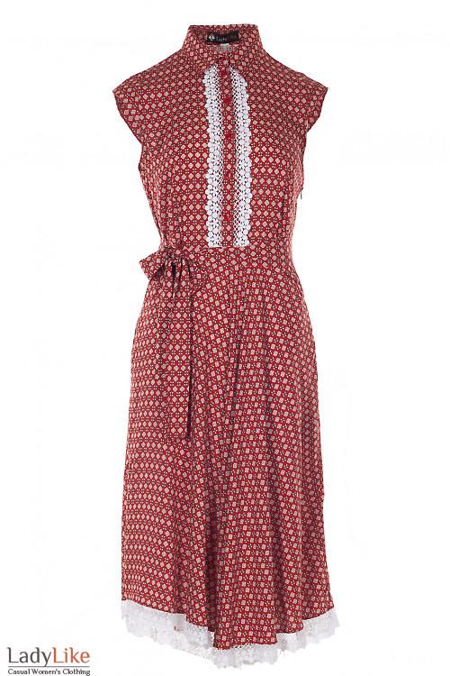 Платье рыжее с кружевом Деловая Женская Одежда фото