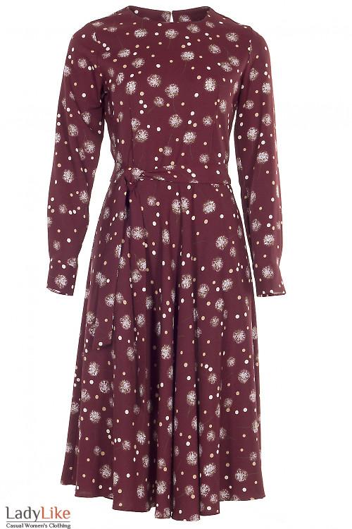 Платье с длинным рукавом в одуванчики Деловая женская одежда фото