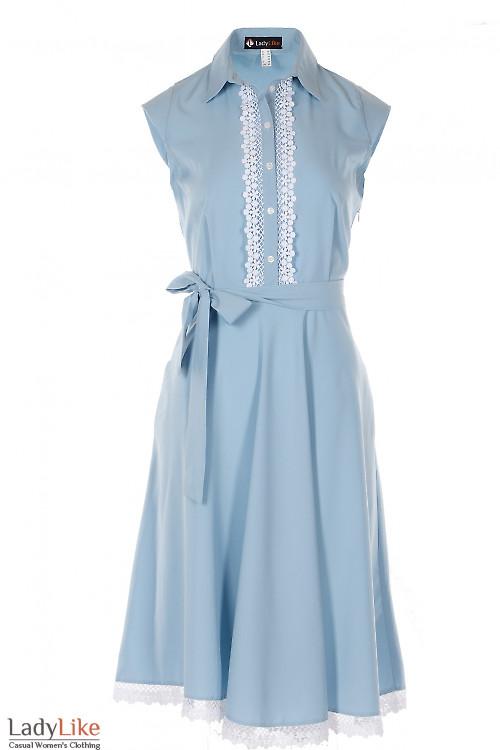 Платье с кружевом голубое Деловая Женская Одежда фото