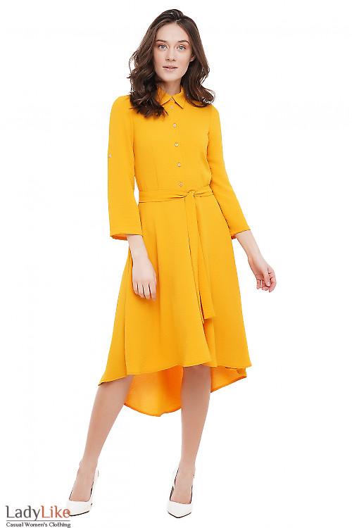 Платье с неровным низом горчичное Деловая Женская Одежда фото