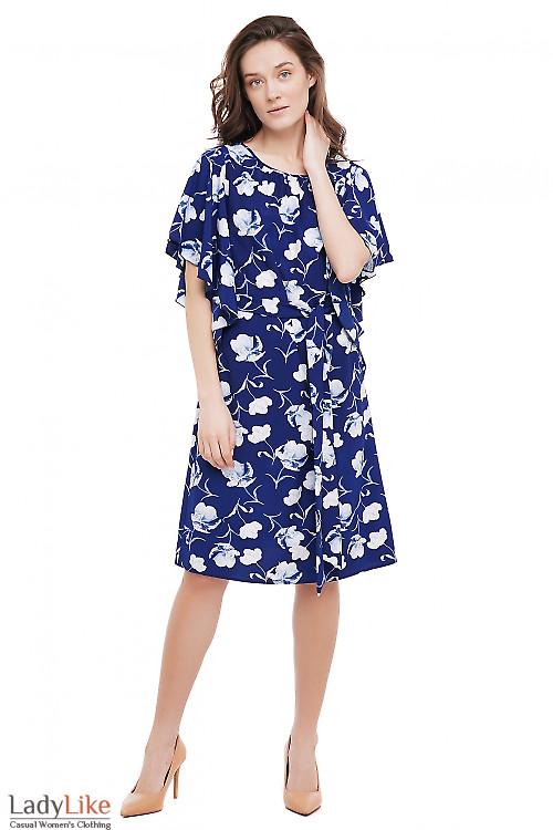 Платье с пышным рукавом синее в цветы Деловая Женская Одежда фото