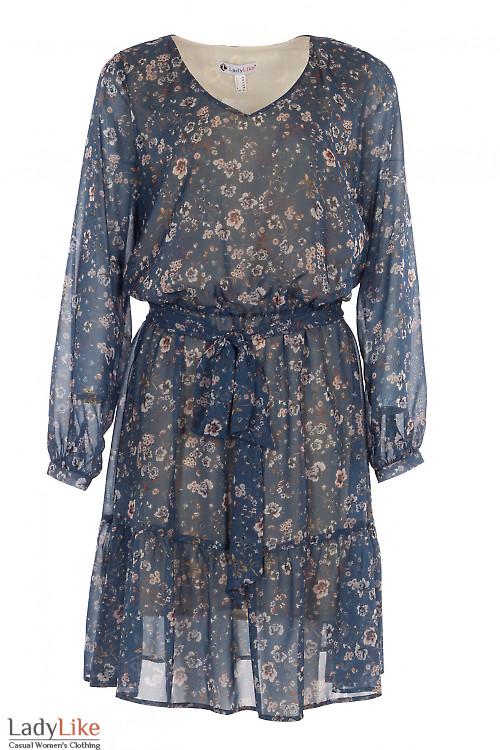 Платье шифоновое в цветок. Деловая женская одежда фото