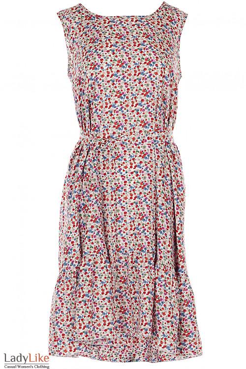 Платье штапельное в разноцветные цветочки. Деловая женская одежда