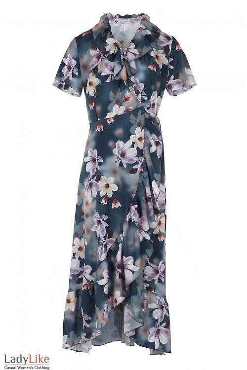 Платье синее с воланом и рюшем. Деловая Женская Одежда фото