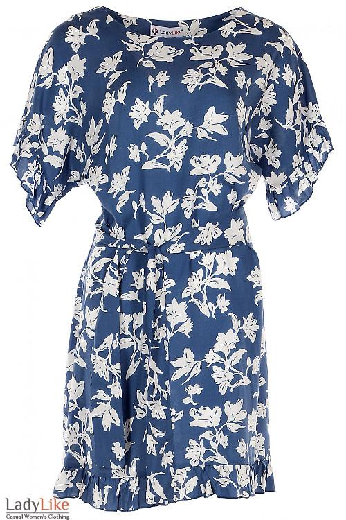 Платье синее штапельное в крупный цветок. Деловая женская одежда