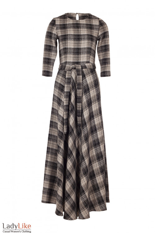 Платье утеплённое в пол в коричневую клетку. Деловая женская одежда фото