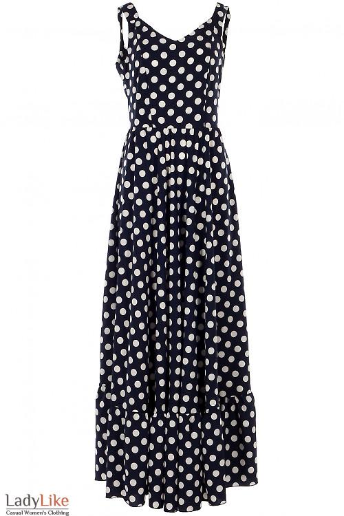 Платье в пол синее в горох. Деловая женская одежда