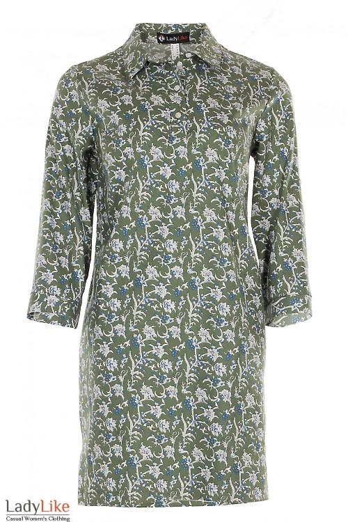 Платье зеленое в цветы из джинса Деловая женская одежда фото