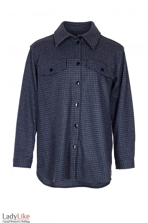 Рубашка-жакет теплая в синюю лапку. Деловая женская одежда фото