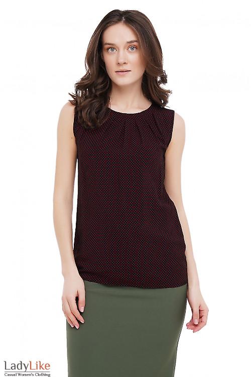 Топ черный в красный горошек Деловая Женская Одежда фото