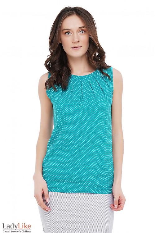 Топ мятного цвета в горошек Деловая Женская Одежда фото
