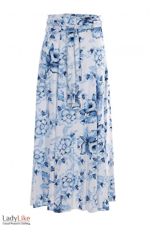 Юбка льняная в бело-голубые цветы. Деловая женская одежда фото