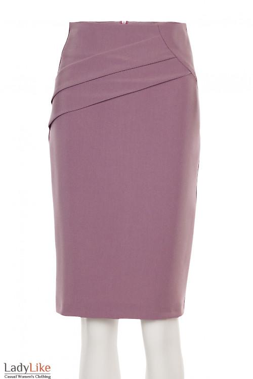 Юбка розовая с косыми складками. Деловая женская одежда фото