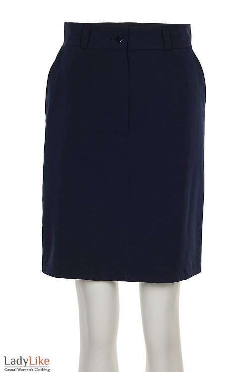 Юбка синяя с застежкой впереди. Деловая женская одежда фото