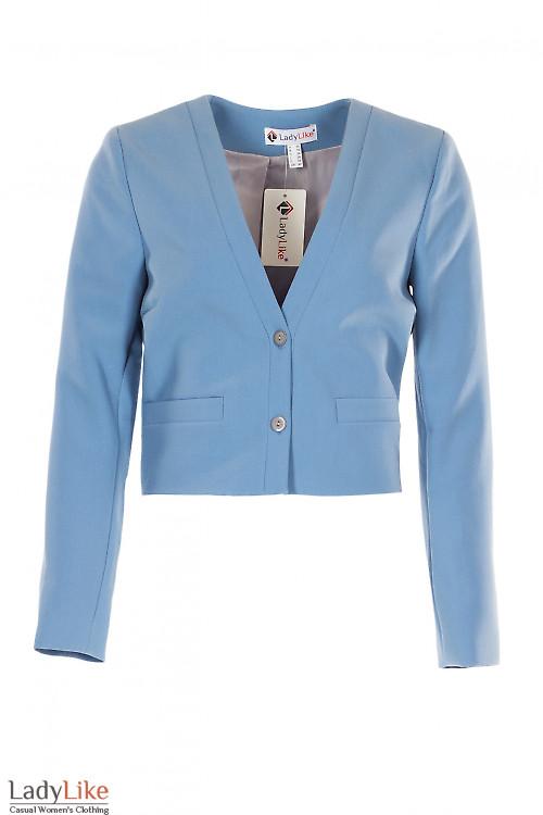 Жакет серо-голубой короткий. Деловая женская одежда фото