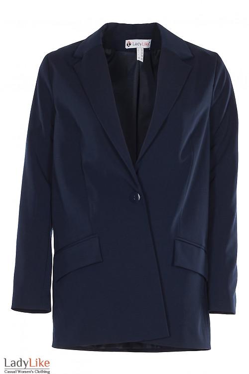 Жакет синий оверсайз на одну пуговицу. Деловая женская одежда фото