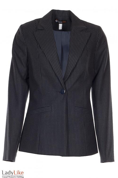 Жакет теплый в серо-синюю полоску Деловая женская одежда фото