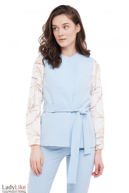 Жилетка под пояс голубая Деловая Женская Одежда фото