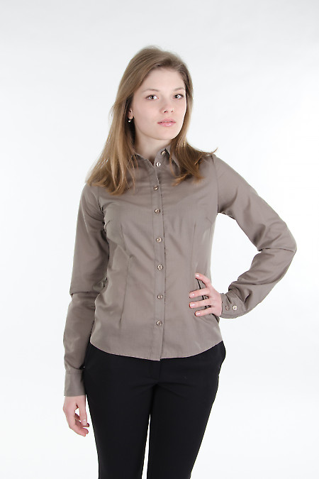 Блузка классическая хаки.  Деловая женская одежда