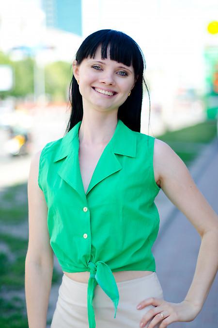 Блузка зеленая на завязках Деловая женская одежда