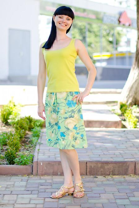 Юбка зеленая из тонкого шифона Деловая женская одежда
