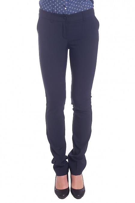 Брюки синие длиной 7/8 теплые. Деловая женская одежда