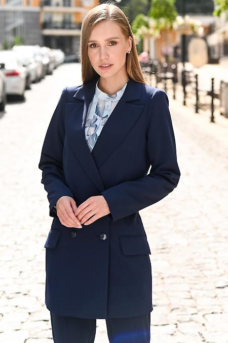 Жакет синий удлиненный двубортный фото