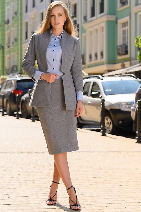 Женский костюм теплый в синюю полоску. Деловая одежда