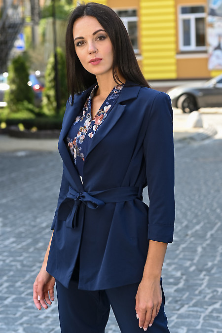 Жакет синий женский с поясом