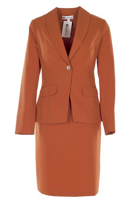 Терракотовый костюм с юбкой. Деловая женская одежда
