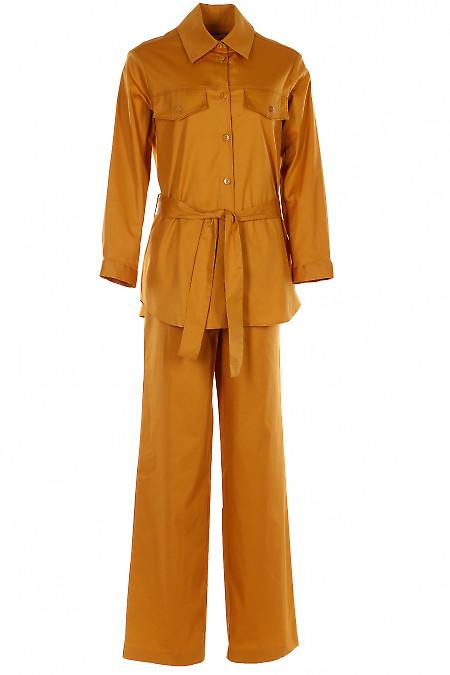 Желтый комплект с брюками палаццо. Деловая женская одежда
