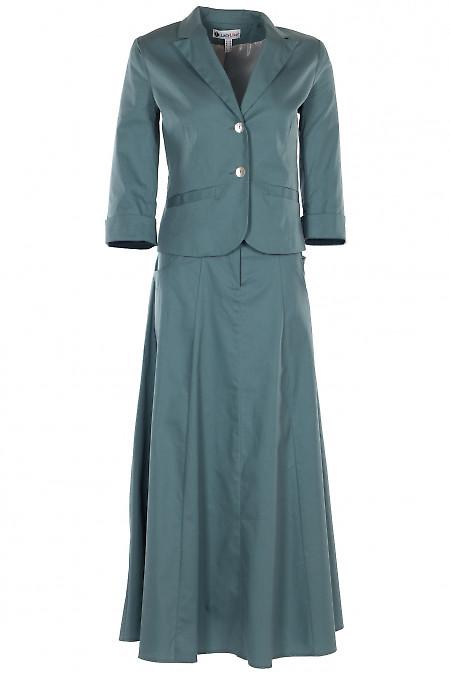 Темно-бирюзовый костюм с юбкой миди. Деловая женская одежда