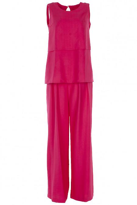 Льняной малиновый костюм с брюками палаццо. Деловая женская одежда