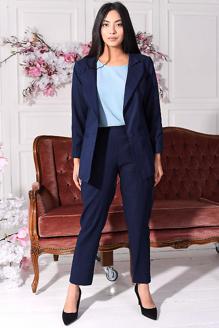 Синий льняной костюм. Деловая женская одежда