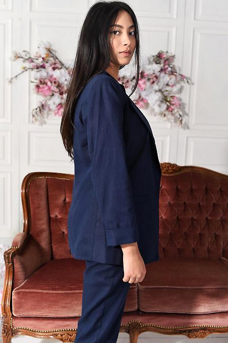 Удлиненный синий льняной пиджак фото