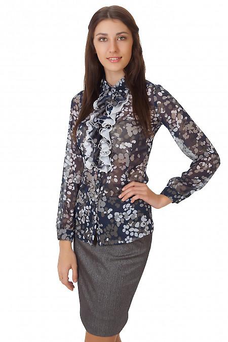 Фото Блузка темно-синяя с жабо в серые кружочки Деловая женская одежда