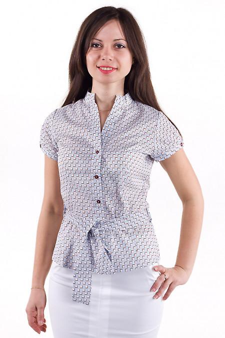 Фото Блузка голубая в коричневые квадратики Деловая женская одежда