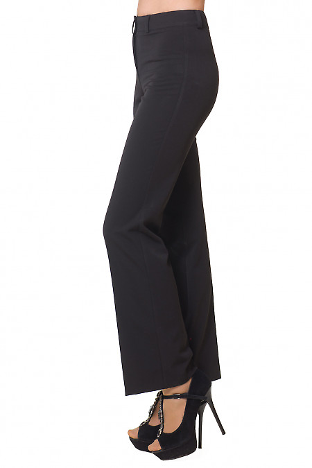 Чорні брюки з костюмної тканини фото