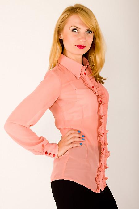 Фото Блузка из шифона розовая Деловая женская одежда