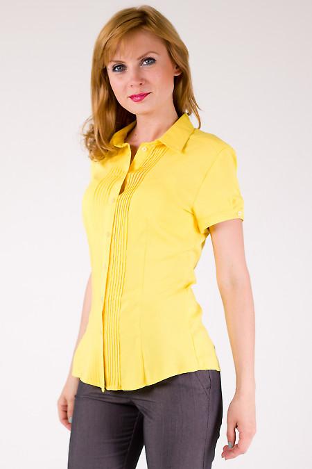 Фото Блузка с защипами желтая Деловая женская одежда