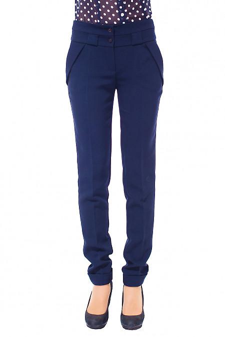 Брюки женские синие теплые. Деловая женская одежда