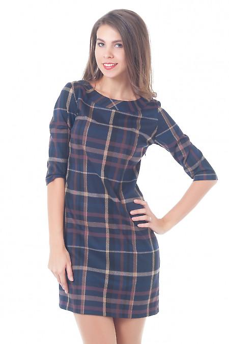 Теплое платье в сиреневую клетку Деловая женская одежда