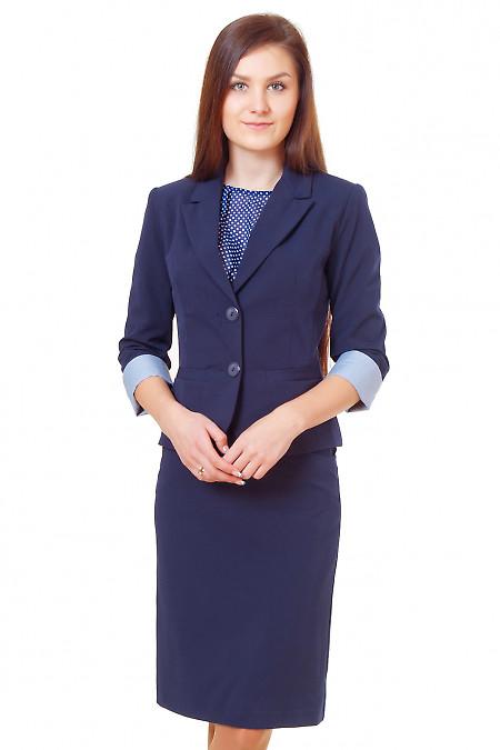 Жакет синий с полосатой манжетой. Деловая женская одежда